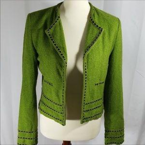 Green Boucle open jacket by Nanette Lenore sz 2
